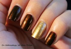 On Wednesdays, We Wear Polish : A Simple Manicure - Buried Alive and Bold Gold