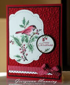 handmade Christmas card ... lovely coloring of image ... bird on holly branches…