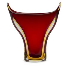 SEGUSO tall flared Sommerso Murano glass vase in red and amber by Flavio Poli, circa 1950's, 32cm high / MAD on Collections - Browse and find over 10,000 categories of collectables from around the world - antiques, stamps, coins, memorabilia, art, bottles, jewellery, furniture, medals, toys and more at madoncollections.com. Free to view - Free to Register - Visit today. #Glass #DecorativeArts #MADonCollections #MADonC Murano Glass Vase, Art Decor, 1950s, Amber, Auction, Mid Century, Antiques, Bottles, Mad