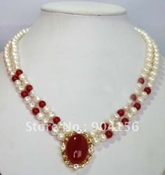 Set-of-White-Pearl-Red-Jade-Necklace-Free-Shipping.jpg (450×478)