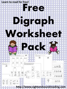 Free Digraph Worksheet Pack! Ch, Sh, Th... a few fun worksheets to help your kindergarten or first grade student learn!