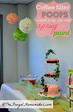 Coffee filter poofs.  Easier to make than tissue paper poofs and you can spray paint them in any color.  Great party decor.  The Frugal Homemaker