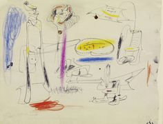 Arshile Gorky: Fireplace in Virginia. 1946. Ink and crayon on paper. 7 7/8 x 11 in. (20 x 27.9 cm). Private Collection