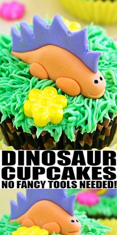 HOW TO MAKE DINOSAUR CUPCAKES- Quick and easy DIY step by step tutorial for marshmallow fondant dinosaur cake toppers. Great for dinosaur birthday party or Jurassic Park party for kids (boys and girls). From CakeWhiz.com #dinosaur #cupcake #cakedecorating