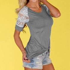 Hollow Lace Stitching Short Sleeve T-Shirt - Grey