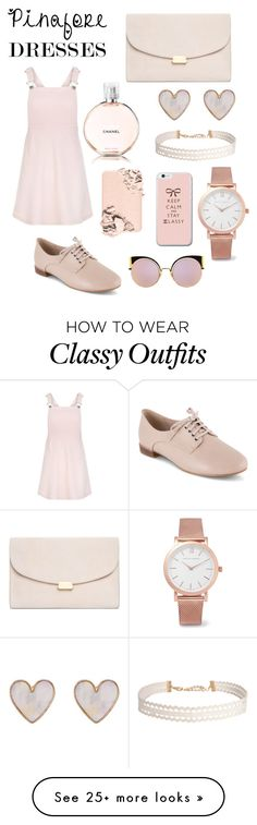 """""""Pinafore dress"""" by emily-istvan on Polyvore featuring New Look, Clarks, Mansur Gavriel, Humble Chic, Larsson & Jennings, Fendi, Too Faced Cosmetics and Chanel"""