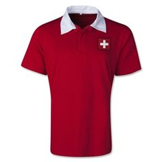 Switzerland Retro Flag Shirt (Red) - WorldSoccerShop.com