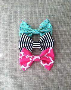 Aqua, Black Stripe, Pink Bow Set by BabyPs on Etsy