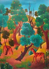 "Marie Claude Latortue 16""x12"" Jungle Scene Oil on Canvas #5-2-95MFN"