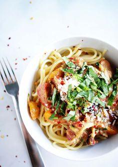 Espaguetti con verduras SIN salsa de tomate