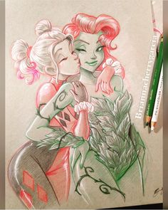 "kamisamafr: ""Harley Quinn & Poison Ivy by Brianna Cherry Garcia "" Harley Quinn Drawing, Harley Quinn Comic, Archie Comics, Dc Comics, Robin Starfire, Gotham Girls, Gotham Batman, Batman Art, Batman Robin"