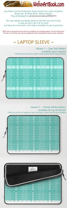 """13"""" & 15"""" available. Lacy Wave Line laptop sleeve designed by We~Ivy is created with high-quality polyester, optimal for vibrant color absorption. The design is printed on both sides to fully showcase the artwork. Pulling back the YKK zipper, you'll find the interior is fully lined with super soft, scratch resistant micro-fiber. Follow We~Ivy's Art BootH for more special #art #gift ideas for #holiday seasons or # birthday #party, to find great #home decors or stuff just to spoil yourself. Waves Line, Presents For Friends, My Themes, Website Themes, Good Cause, Sleeve Designs, Ipad Case, Tech Accessories, Laptop Sleeves"""