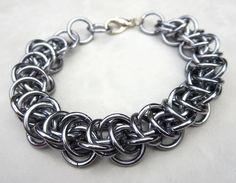 Upperland - Chainmail Bracelet Unisex Mens Bracelet - Black Ice Silver Grey - Chainmaille Jewelry Industrial Chic Rocker Chic Rocker Jewelry