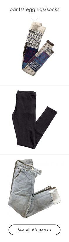 """""""pants/leggings/socks"""" by mychemicalromanceatthedisco ❤ liked on Polyvore featuring pants, leggings, jeans, bottoms, stretch leggings, free people leggings, patchwork pants, stretch trousers, cotton trousers and black"""