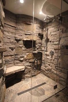 Cabin in a Cabin - Gravenhurst ON rustic - love the rock wall appearance and she. Cabin in a Cabin - Gravenhurst ON rustic - love the rock wall appearance and shelves Bathroom Interior, Modern Bathroom, Minimalist Bathroom, Bathroom Vintage, 1950s Bathroom, Simple Bathroom, Half Bathroom Remodel, Bathroom Remodeling, Shower Remodel