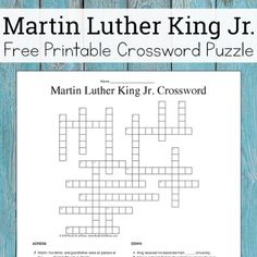 Looking for Martin Luther King Jr resources for kids? This free MLK crossword puzzle printable is perfect for elementary through middle school students. Free Printable Crossword Puzzles, Free Printables, Valentine's Cards For Kids, Home Learning, King Jr, Martin Luther King, Middle School, Real Life, Festivals