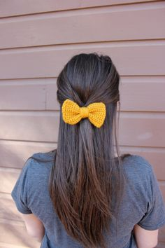 Mustard Yellow Crochet Hair Bow by SunshinenStitches on Etsy, $5.00