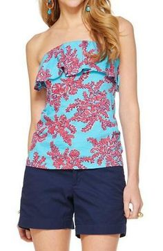 4df5d907e91 I have 2 shirts like this and I m obsessed with them! - Lilly Pulitzer Wiley  Ruffle Tube Top in Rhode Island Reef