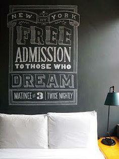 """Free Admission To Those Who Dream""  Cute!  Black white yellow bedroom chalkboard feature wall art blackboard effect headboard"