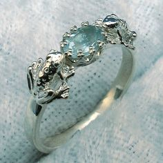 2 Frogs Ring, Natural Aquamarine, Hand Crafted Sterling Silver, size 1 2 3 4 5 6 7 8 9 10 11 12 on Etsy, $49.00