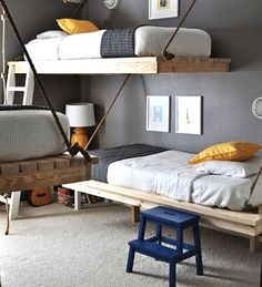what a cool bunk bed idea... there are three of them in this space!