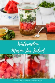 This refreshing watermelon salad is the perfect summer salad for when you're on the go. Super easy to put together, this healthy recipe features radishes and feta cheese with a delicious homemade vinaigrette. Store it in a mason jar or in any container for up to 3 days. #salad #healthy #masonjar #healthyrecipes #healthyfood #healthyeating #delicious #yummy