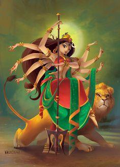 Client: Maya Magical Studios Australia (Goddess Durga) on Behance Mughal Paintings, Indian Art Paintings, Durga Painting, Durga Maa Paintings, Kali Goddess, Krishna Art, Hindu Art, Shiva Hindu, Shiva Shakti