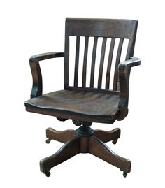 PRICE REDUCED Antique Wooden Swivel Bankers Desk Chair Vintage Office Woo