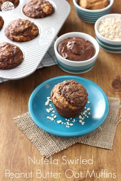 Nutella Swirled Peanut Butter Oat Muffins l www.a-kitchen-addiction.com