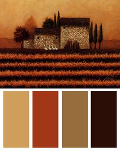 fall-vineyard-color-palette- Fall Vineyard, Art Print by Lowell Herrero