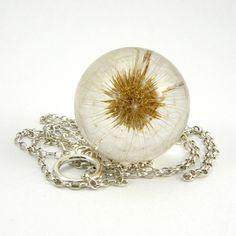 Naszyjnik Dmuchawiec 4 -żywica i srebro - SylwiaCalus - Biżuteria srebrna