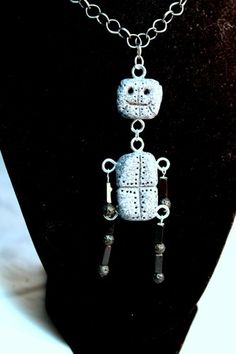 Goofy Polymer Clay Robot Pendant and Necklace  | Wyverndesigns - Jewelry on ArtFire