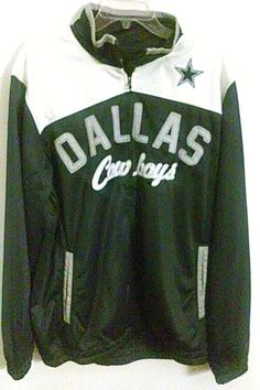 Mens NFL DALLAS COWBOYS Track Jacket L BLUE   WHITE w Stitched Logo  NFL   FullZipTrackJacketwOpenPockets dccd0ad67