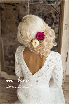 Nice hair#updo#wedding#roses