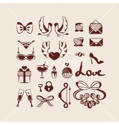 Love icons collection vector. Valentine's day designs by yemelianova on VectorStock®
