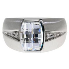 Custom Made Men's Barrel Cut White Topaz Gemstone Diamond Ring In White Gold Available Exclusively at Gemologica.com