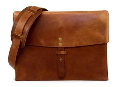 vintage full grain leather messenger bag in saddle tan
