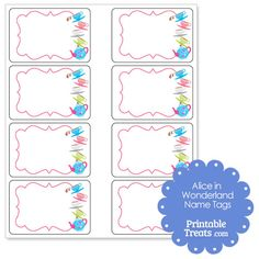Free Alice in Wonderland Printable Name Tags from PrintableTreats.com