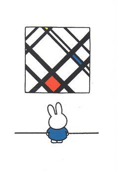 Titel: Nijntje voor Mondriaan. Design: Dick Bruna, gespeeld met kleurgebruik