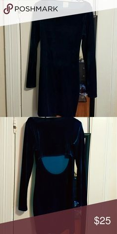 EUC dark turquoise velvet mini cutout dress This beautiful velvet cutout dress is a great addition to your going out wardrobe. I wore it once on a special occasion.  It's in excellent used condition!  Very flattering and curve hugging! Nymphe Dresses Long Sleeve