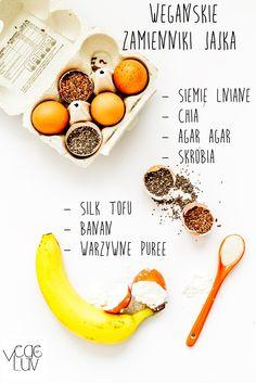 Egg substitutes for vegan Substitute For Egg, Raw Food Recipes, Tofu, Cantaloupe, Gluten Free, Eggs, Vegetarian, Banana, Fruit