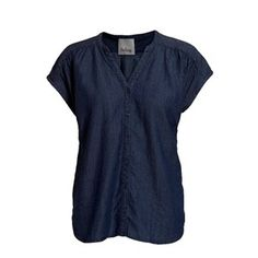 Sustainable denim top, dark blue. Beautiful and feminine denim top, which is made from Lyocell and linen. Match it with the denim shorts and you have a perfect outfit for spring.