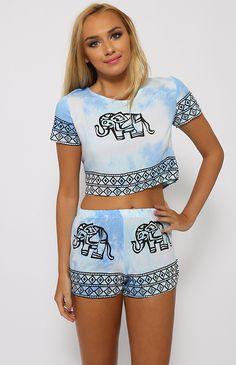 Swirl Elephant Set - Light Blue | Back In Stock | Clothes | Peppermayo