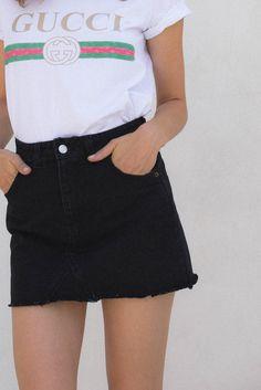 Elsa Skirt - Black Denim – Style Addict