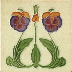Art Nouveau Pansy Tile