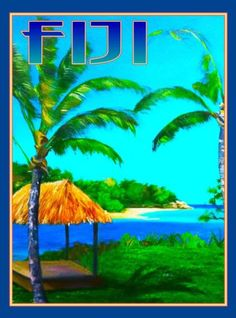 Fiji Island South Pacific Seas Ocean Beach Reef Travel Advertisement Art Poster  in Art, Art from Dealers & Resellers, Posters | eBay