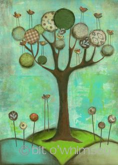 Local artist. I adore her mixed media style.. You can find some of her pieeces at Catching Fireflies in Berkley.