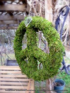 Another view of the all preserved moss peace sign wreath.