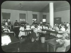 Girls sewing class in the work room at the Overbrook School for the Blind, Philadelphia. Visit the Perkins Archives Flicker page: http://www.flickr.com/photos/perkinsarchive/collections/