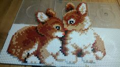 Bunnies hama perler beads by Susanne Damgård Sørensen Pony Bead Patterns, Pearler Bead Patterns, Perler Patterns, Beading Patterns, Hama Beads Christmas, Pearl Crafts, Peler Beads, Iron Beads, Melting Beads